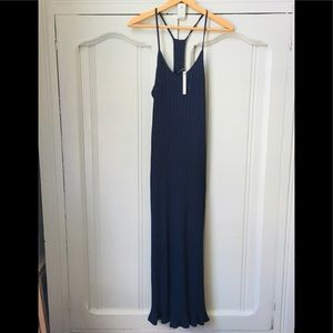 NWT ASOS Petite Navy Blue Ribbed Maxi Dress